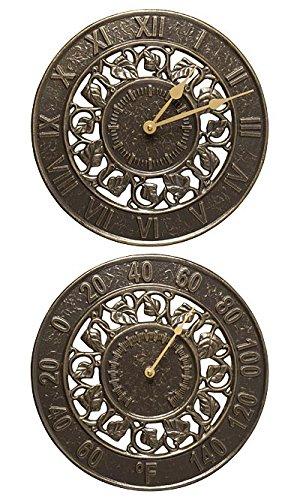 Bronze Indoor Outdoor Clock (BestNest Whitehall Ivy Silhouette Clock & Thermometer Package, Bronze)