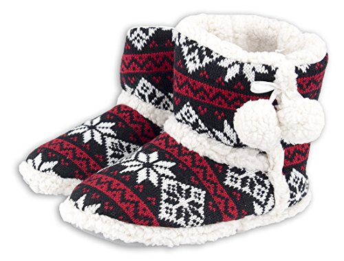 Damen und Mädchen Hausschuhe Strick gefüttert Hausschuh Hüttenschuhe Plüsch Strick Schwarz Rot Weiß