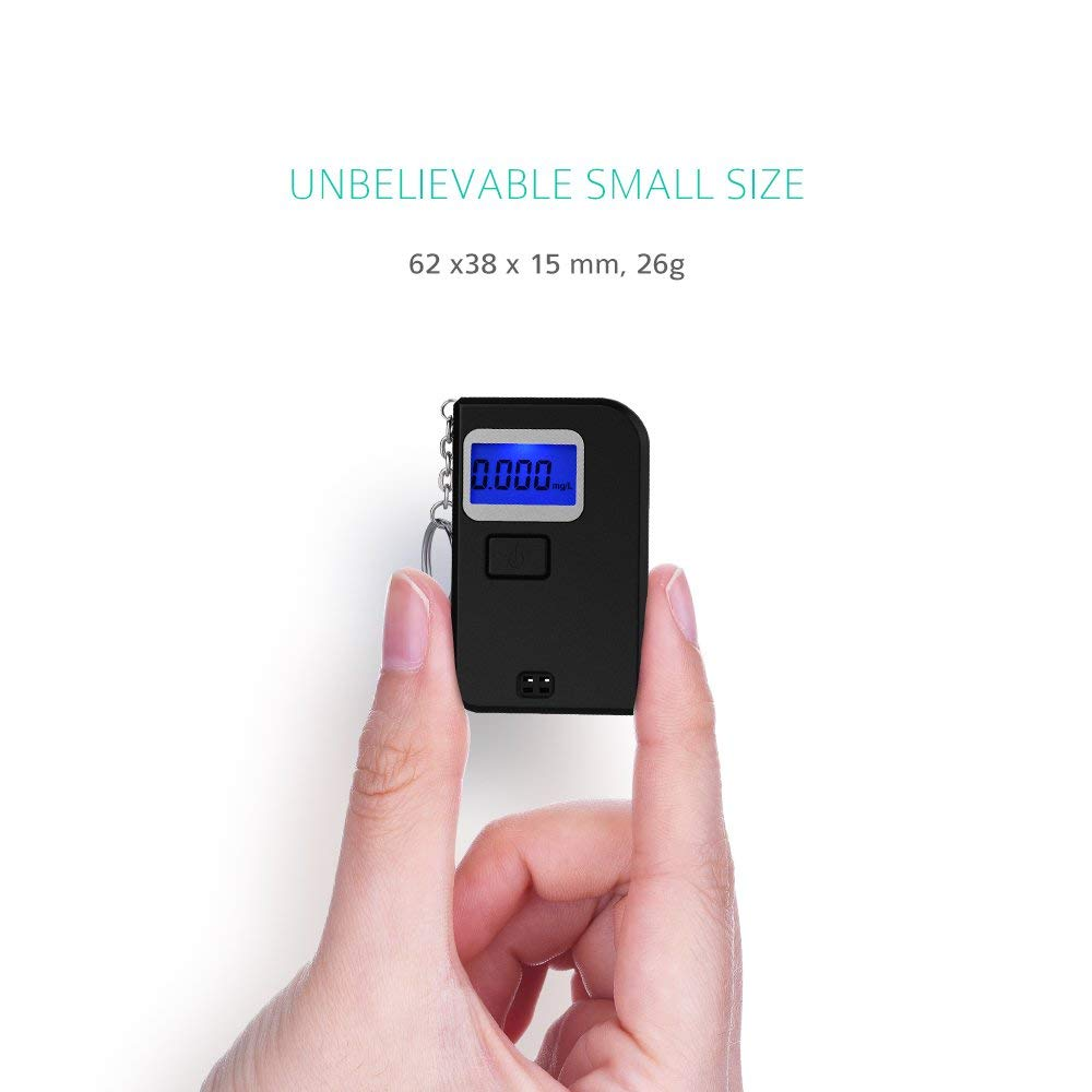 3T6B Digital Alcohol Tester White Portable Keychain Digital LCD Screen Alcohol Tester Breathalyzer with Mouthpiece for Drinkers Drivers