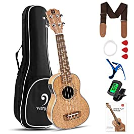 Vangoa Soprano Ukulele Beginner Kit 21 Inch Mahogany Uke Electric Ukelele Bundle with Padded Gig Bag Tuner Capo Picks…