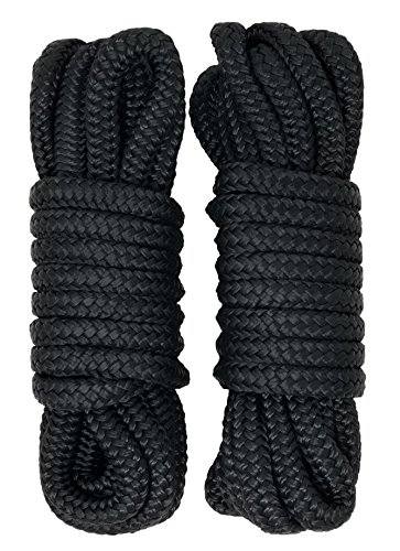 Rainier Supply Co Dock Lines - 2 Pack 15' Double Braided Nylon Dock Line/Mooring Lines - Ultra Strong and Soft - Boat Accessories - 15' x 3/8