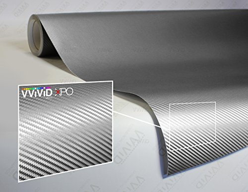 VViViD XPO Sterling Silver 3D Carbon Fiber 5ft x 1ft Vinyl Wrap Roll with Air Release Technology