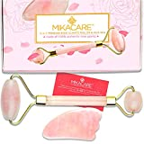 2 in 1 Rose Quartz Roller and Gua Sha - Facial Face Roller and Massager Healing Toning Massage Jade Roller Alternative by Mikacare