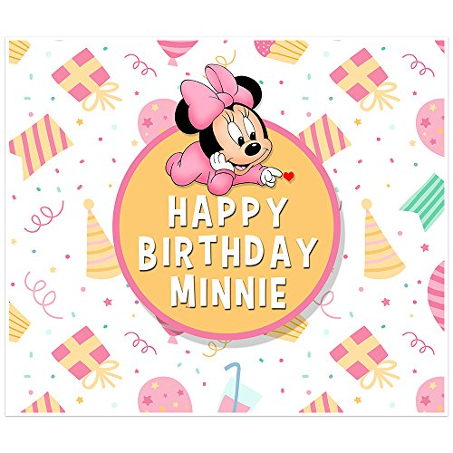 Minnie Mouse Birthday Banner Personalized Party Table Backdrop Decoration -