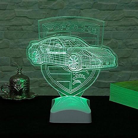 Luxury Car Hologram Table Lamp Porche Symbol And Car 100