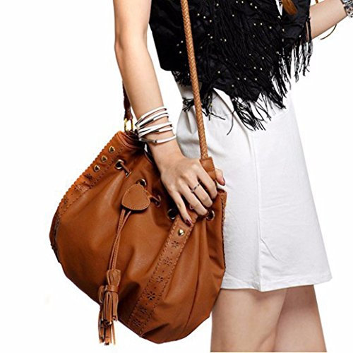 OVERMAL Women Leather Messenger Hobo Bags Handbag Shoulder Bag Tote Purse (Brown)