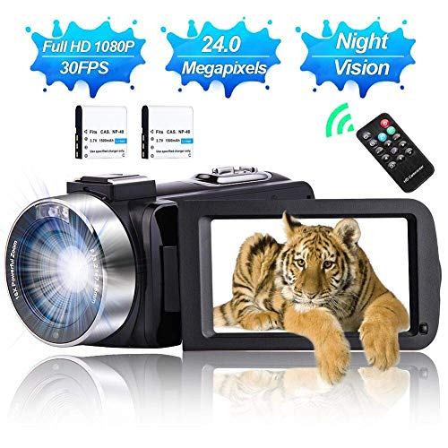 Video Camera Camcorder Vlogging Camera Full HD 1080P 30 FPS 24.0 MP YouTube Digital Camera with IR Night Vision 3.0″ IPS Screen 16X Zoom Vlog Camera with Remote Control, 2 Batteries (XS7)