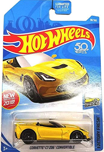 Hot Wheels 2018 50th Anniversary Factory Fresh Corvette C7 Z06 Convertible 98/365, Yellow