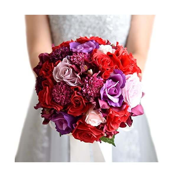 "Zebratown 8"" Wedding Silk Camellia Flower Bouquet Red Roses Bride Wedding Centerpieces Flowers Bridal Bouquet Holder (Red)"
