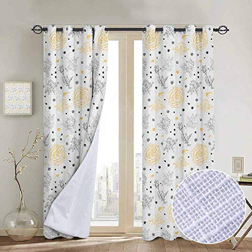 "NUOMANAN Decorative Curtains for Living Room Grey and Yellow,Grunge Sketchy Romantic Roses Leaves Cotton Flowers with Dots Image, Yellow Grey White,Blackout Draperies for Bedroom 54""x84"""