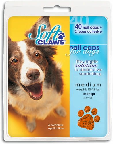 Soft Claws Nail Caps for Dogs Orange, Medium 40ct