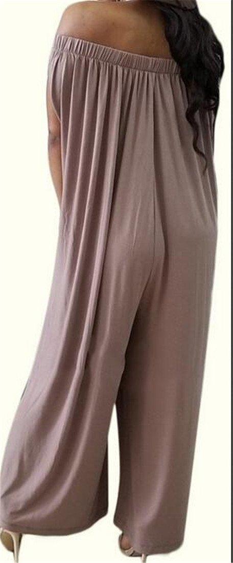 XTX Womens Off Shoulder Relaxed-Fit Casual Pleated Wide Leg Pants Culottes Jumpsuits Coffee Large by XiaoTianXin-women clothes (Image #3)