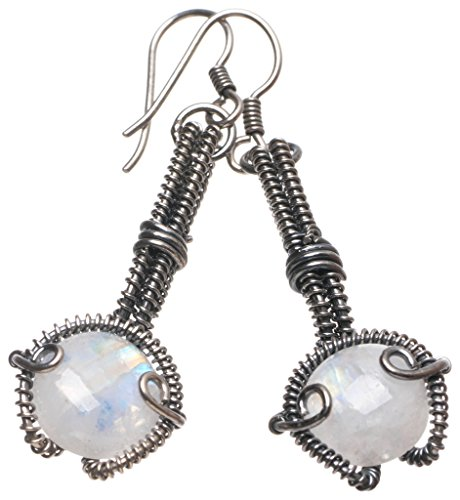 StarGems(tm) Natural Rainbow Moonstone Handmade Boho 925 Sterling Silver Earrings 2