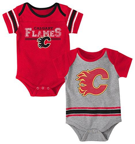 Outerstuff NHL Calgary Flames Children Unisex Definitive 2Piece Onesie Set, 0-3 Months, Heather Grey