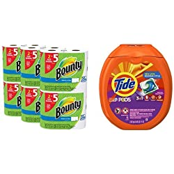 Bounty Select-a-Size Paper Towels, White, Huge Roll, 12 Count & Tide PODS Spring Meadow Scent HE Turbo Laundry Detergent Pacs, 81 count bundle