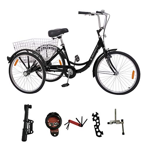 MOPHOTO Adult Tricycle Trike Cruiser Bike 3 Wheeled Men's Women's Cruiser Bicycles w/Large Basket and Maintenance Tools (Single Speed Black, 24 Inch)