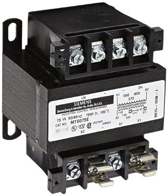 Siemens MT0075E Industrial Power Transformer, Domestic, 550/575/600 Primary Volts 50/60 Hz, 110/115/120 Secondary Volts, 75VA Rating