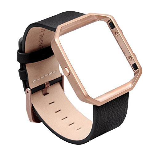 V-Moro Fitbit Blaze Band Small Leather Bracelet Strap Replacement Band with Metal Frame Black For Fitbit Blaze Smart Fitness Watch (Leather Black&Metal Frame Rose Gold - - Black Blaze