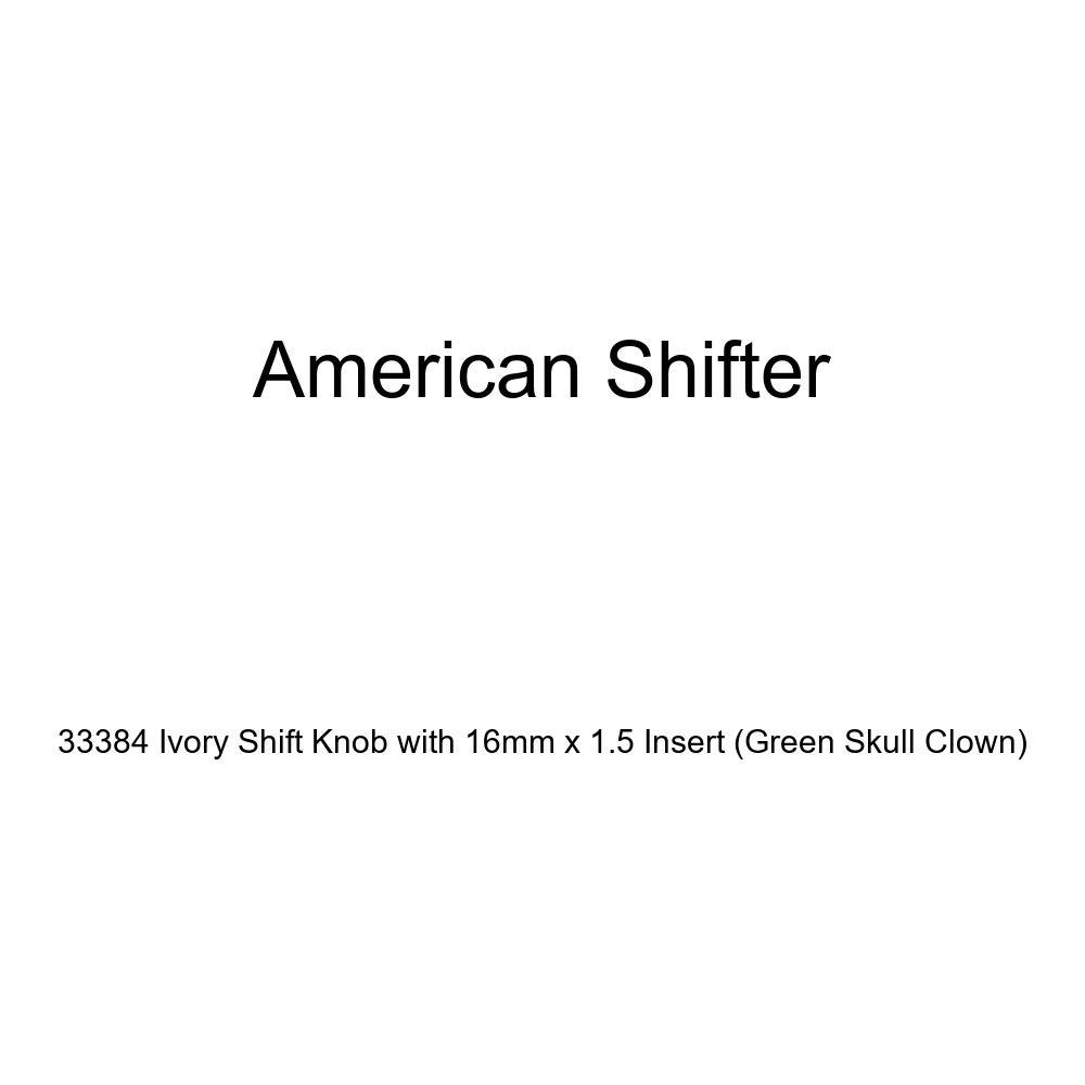 Green Skull Clown American Shifter 33384 Ivory Shift Knob with 16mm x 1.5 Insert