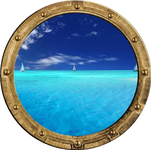 "12"" PortScape Instant Sea Porthole Window View Sail Boat sailboats #2 Wall Sticker Port hole Graphic Decal Kids Game Room Decor Art Cling NEW"