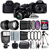 Canon PowerShot SX60 HS Digital Camera (Black) + 0.43X Wide Angle Lens + 2.2x Telephoto Lens + UV-CPL-FLD Filters + Backup Battery + Flash + 32GB Class 10 Memory - International Version