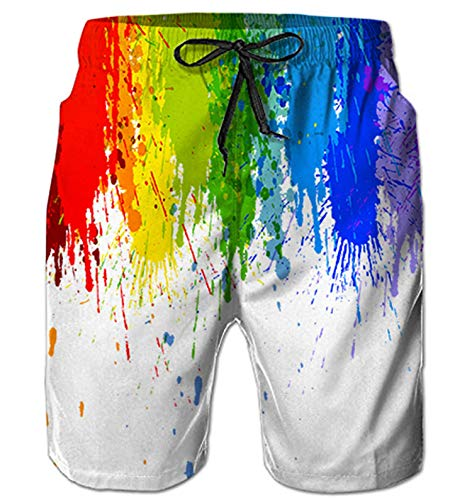 (Belovecol Men's Gay Pride Swim Trunks Rainbow Beach Shorts Colorful Quick Dry Bathing Suits XXL)