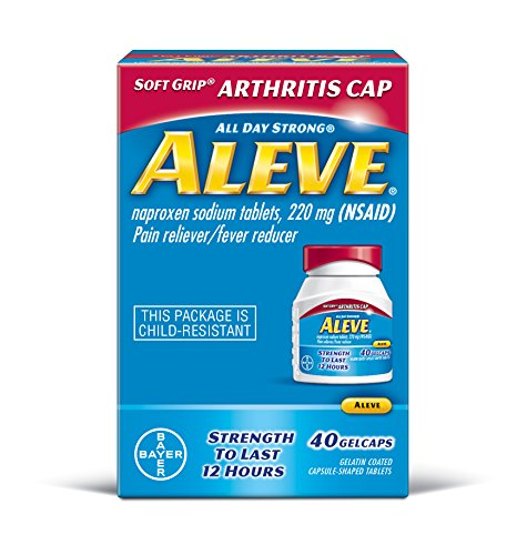 Aleve Gelcaps with Soft Grip® Athritis Cap, Naproxen Sodium, 220mg (NSAID) Pain Reliever/Fever Reducer, 40 Count ()