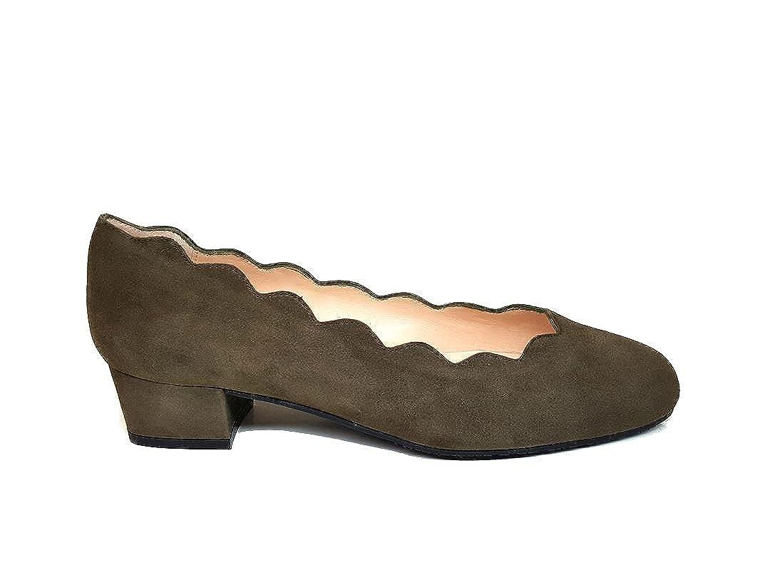 GENNIA AGUJETA. - Scarpe Donna Ballerine con Pelle con Tacco a 2-3 cm e Dettaglio Onde nella Scarpa | Durevole  | Gentiluomo/Signora Scarpa
