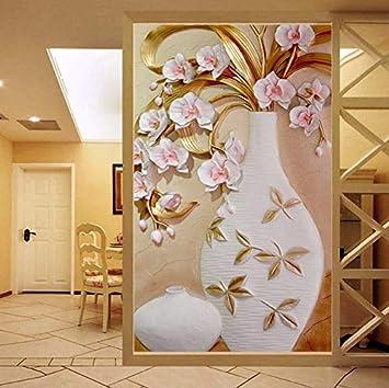 Xzfddn Große Blumenvase Wandbild Maßgeschneiderte Größe 3D Relief Tapete Für  Wohnzimmer Moderne Einfache Decor Eingang Korridor