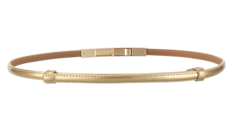 Motase Vestito Cintura per Donna Cintura Sottile in Pelle con Fibbia Dorata