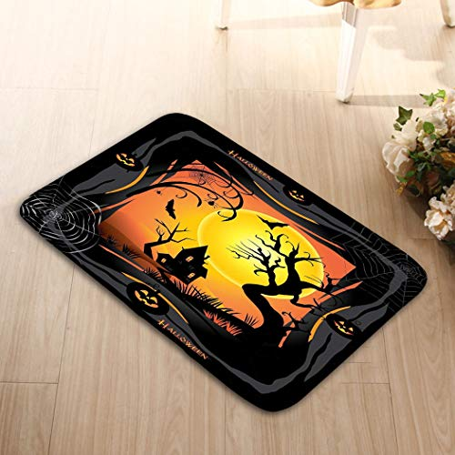 YILINGER Washable Fabric Placemats for Dining Room Kitchen Table Decor 23.6 W X 15.7 W Inches Halloween Halloween Night Pumpkin bat Spider Web Forest -
