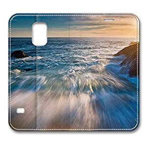 Brain114 Fashion Style Case Design Flip Folio PU Leather Cover Standup Cover Case with Beach Blurred Pattern Skin for Samsung Galaxy S5 I9600