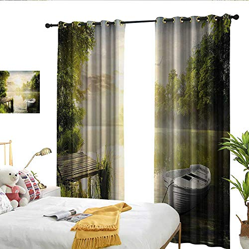 WinfreyDecor Nature Thermal Curtains Boat by The Foggy Lake Deck Dreamy Forest in The Morning Country Style Image for Living, Dining, Bedroom (Pair) W108 x L96
