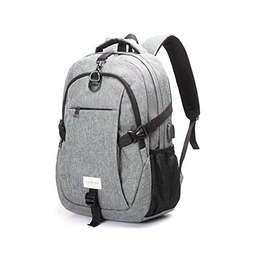 Casual Wasserdichte Männer Frauen Rucksack Lässig USB Lade Reise Jugendliche Schüler Schultaschen Notebook Laptop Rucksack-Grau Grey