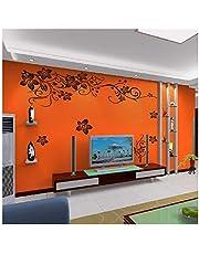 ورق حائط اسود مزين بالزهور المائلة للزينة على شكل فراشات، مناسب لخلفية التليفزيون وغرفة النوم وديكور خلفية وملصقات حائط
