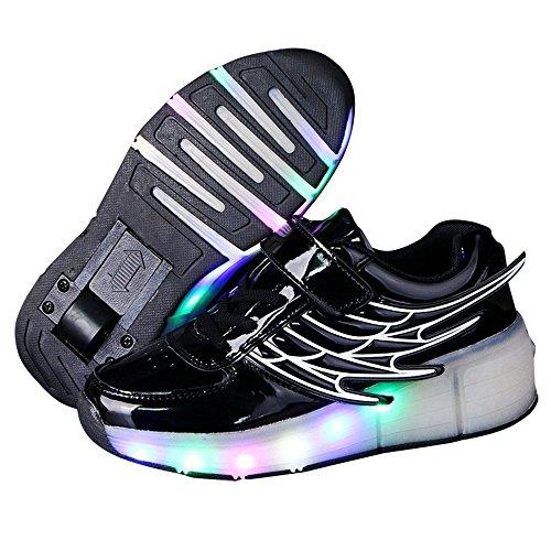 (Kids Wheely Shoes Girls Boys LED Light up Heelys Roller Skate Sneakers Xmas Gift(Black 10 M US Toddler) )