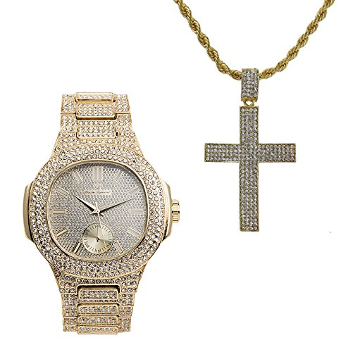 - Hip Hop Ice'd Out Cross Charm on Rope Necklace with Bling Mens Watch fit for a King!! 8475-SSS42 Gold