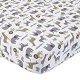 Best Carter's Baby Crib Sheets - Carter's 100% Cotton Fitted Crib Sheet, Safari, Gray Review