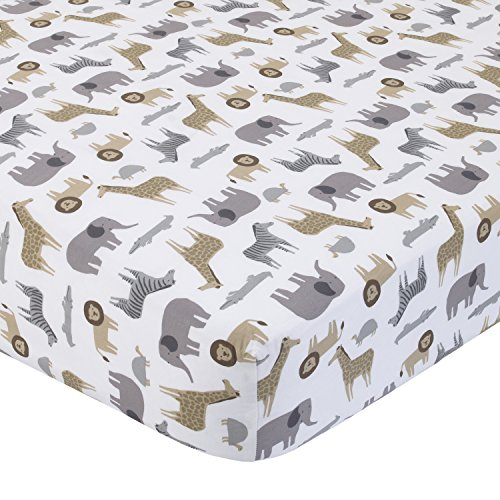 Carter's 100% Cotton Fitted Crib Sheet, Safari, Gray, Tan, White