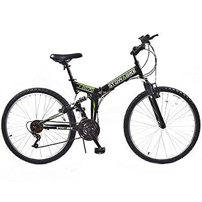 "Stowabike 26"" MTB V2 Folding Dual Suspension 18 Speed Shimano Gears Mountain Bike Black"