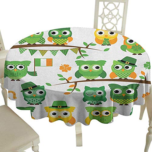 camping round tablecloth 70 Inch St. Patricks Day,Irish Owls with Leprechaun Hats on Trees Shamrock Leaves Horseshoe Green and White Suitable for Party,outdoors,Farmhouse,coffee shop,restaurant More]()