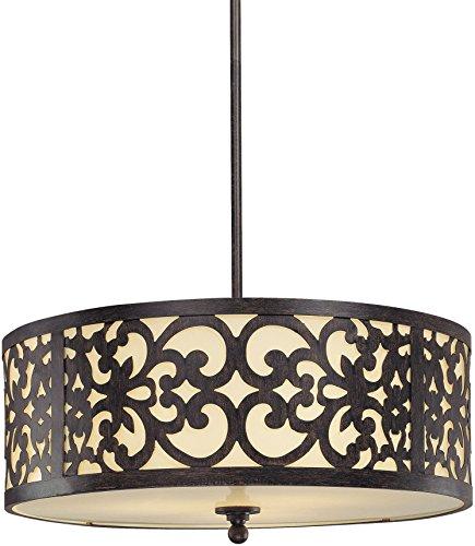 Iron Oxide Finish 3 Bulbs - Minka Lavery Pendant Ceiling Lighting 1494-357, Nanti Drum, 3 Light Fixture, 300 Watts, Iron
