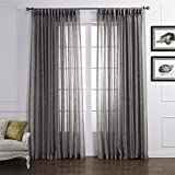 Dreaming Casa Solid Sheer Curtains Poly Linen Textured Window Treatment Draperies Double Pleated 96 Inches Long for Bedroom 2 Panels (2 x 100'' Wide x 96'' L) Grey