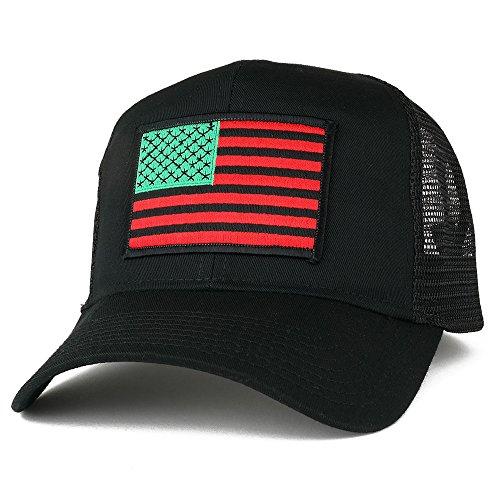 - AC Racing USA American Flag Patch Snapback Trucker Mesh Cap - Black, Red/Black/Green