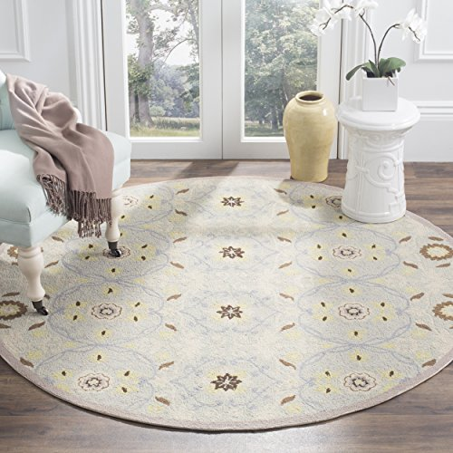 Safavieh Chelsea Collection HK727C Hand-Hooked Light Blue and Ivory Premium Wool Round Area Rug (5'6