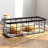 E Support Vintage Metal Storage Basket Wire Bread Basket Organizer Food Serving Basket for Picnic Coffee Kitchen