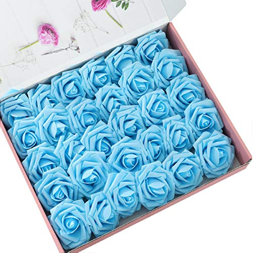 Light Blue Roses - DerBlue 60pcs Artificial Roses Flowers Real Looking Fake Roses Artificial Foam Roses Decoration DIY for Wedding Bouquets Centerpieces,Arrangements Party Home Decorations