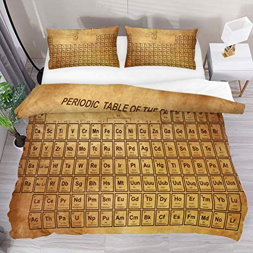 3 Pieces Vintage Colorful Periodic Table Chemistry Duvet Cover Set (1 Duvet Cover + 2 Pillowcases) California King Size Breathable Decorative Bedding Sets Decorative for Adult Women Men ()