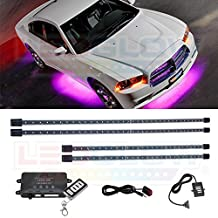 LEDGlow 4pc Wireless Pink LED Underbody Underglow Kit