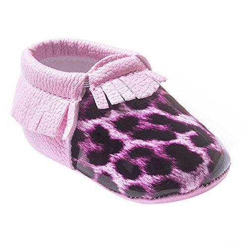 HAPPY CHERRY Suaves Zapatos Primeros Pasos Zapatitos sin Cordones Suela Antideslizante Mocasines para Bebés Niños Niñas 12-18 Meses Color Vino Tinto Leopardo Rosa